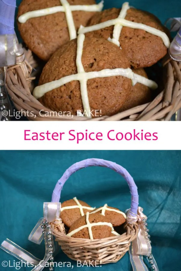 Easter Spice Cookies; buttery, soft spice cookies with a lovely texture from the crushed biscuits. These are topped with a simple lemon icing cross inspired by hot cross buns. Click the photo for the #recipe #easterrecipe #easterspicecookies #hotcrossbuncookies
