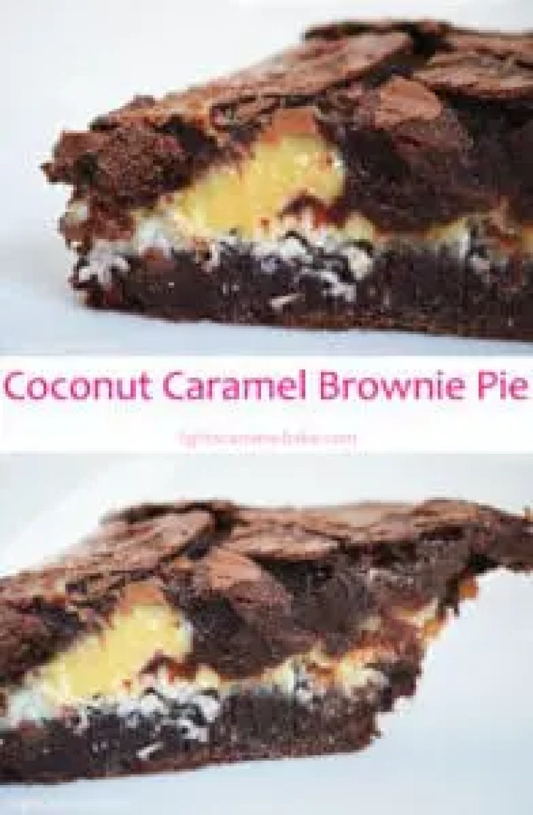 Coconut Caramel Brownie Pie: Rich, decadent and fudgy brownie pie with a sweet coconut and buttery caramel center.
