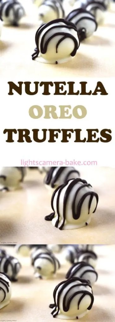 Nutella Oreo Truffles are ultra decadent truffles with a soft and creamy crushed Oreo and Nutella filling and coated in a white chocolate coating. #nutella #nutellatruffles #oreos #oreotruffles #nutellaoreotruffles