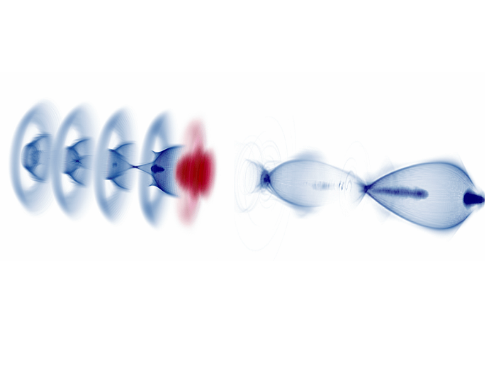 Electrons riding a double wave