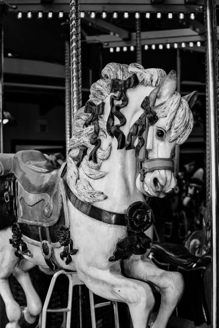 Marguerite, one of the hand-carved horses at A Carousel for Missoula waits for a rider. The carousel, which opened in 1995, was built and largely operated with volunteer labor. It is built on the frame of an antique carousel and contains numerous wooden ponies,, each one unique, along with chariots for guests to ride.
