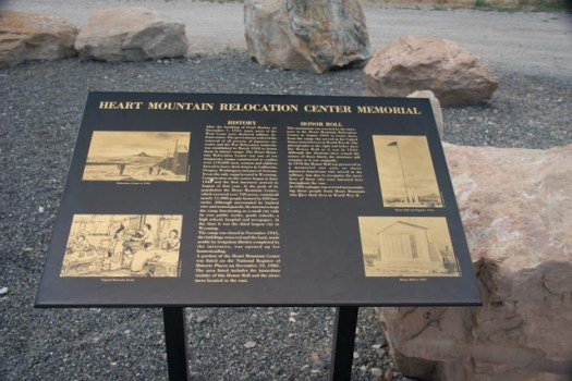 A sign at the Heart Mountain Relocation Center tells the story of the camp outside of Cody, Wyoming where,, between 1942 and 1945, nearly 11,000 Japanese-Americans were held. At the time, the size of the population housed there made Heart Mountain the third-largest city in Wyoming.