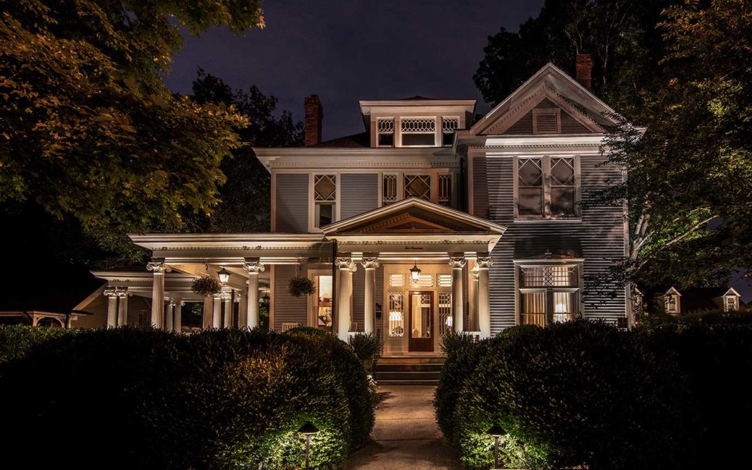 architectural lighting on old home in