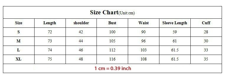 size chart for jacket