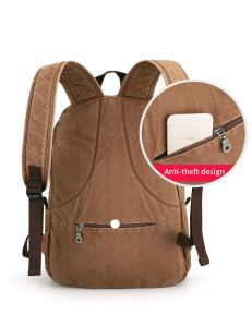 Muzee Canvas Backpack with USB Charging Port for Men Women, Lightweight Anti-Theft Travel Daypack College Student Rucksack Backpack Fits up to 15.6-inch Laptop Backpack Light Brown