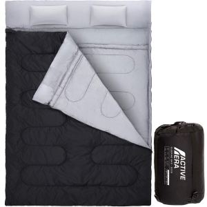 Active Era Double Sleeping Bag - Water Resistant and Lightweight Queen Size with 2 Pillows & Compression Bag