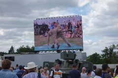 6-Big screens showed the action