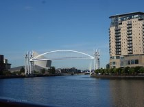 2-Leaving Salford Quays under our first bridge