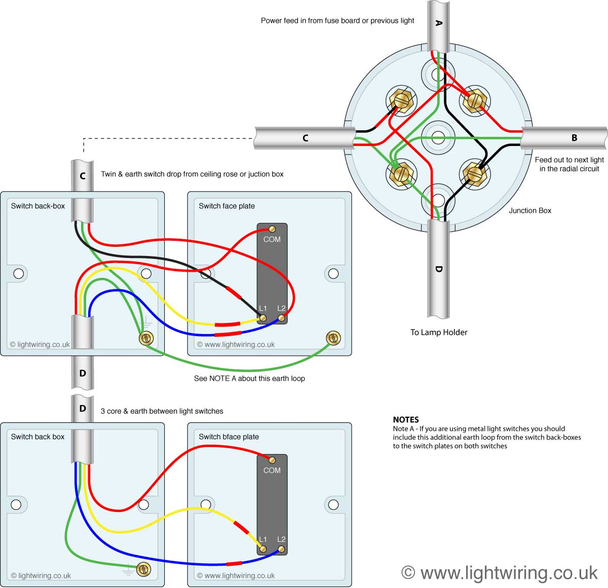 wiring diagram junction box y plan central heating 2 way lighting circuit light
