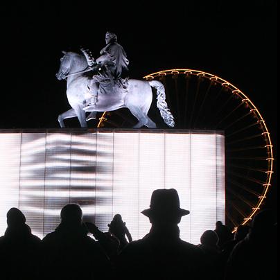 Magic Cube, Gilbert Moity, Place Bellecour, Lyon, Fête des Lumières 2012, photo : Vincent Laganier