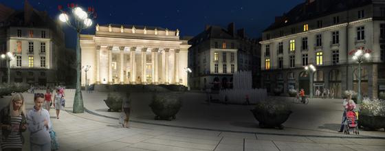 Simulation lumière de la place Graslin, Nantes, France – Illustration : Virginie Voué, Luminescence