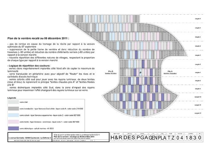Plan de la verrière, hall accueil, Tour Eqho, Paris La Défense, France - Hubert & Roy architectes et associés © Concepto, Roger Narboni