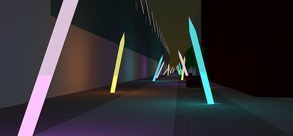 Jardin-créatif,-mail-halle-Alstom,-Nantes---simumlation-3D-nocturne-©-Yvan-Sacovy---Projet-de-Marie-Brec-et-Yvan-Sacovy--Formation-Conception-Lumiere-Durable-2013---Pole-Atlantique---ENSAN