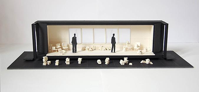 Pré-maquette de La Leçon de Eugène-Ionesco - Mise en scène : Christian Schiaretti, TNP - Scénographe et dessin : Samuel Poncet