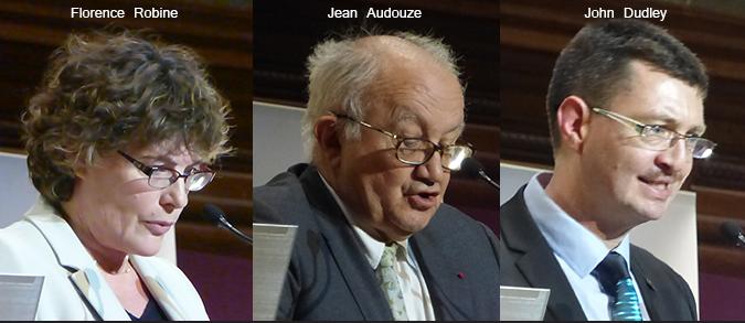 Année de la Lumière en France 2015 - Cérémonie de lancement - Florence Robine, Jean Audouze, John Dudley - Grand Amphithéâtre de la Sorbonne, Paris - Photo : Vincent Laganier