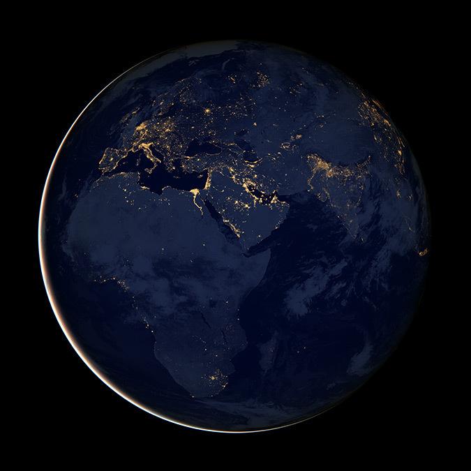 Globe terrestre et ville lumière nocturne en Afrique - Photo : NASA