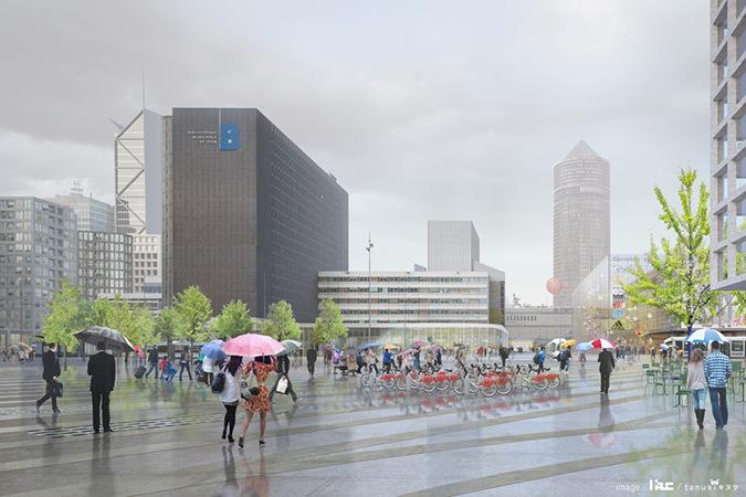 Place Béraudier, vision future, depuis la sortie de la gare, projet Lyon Part-Dieu, France - Dessin : AUC - Grand Lyon