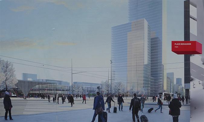 Place Béraudier, vision future depuis le centre commercial, projet Lyon Part-Dieu, France - Dessin : AUC - Grand Lyon
