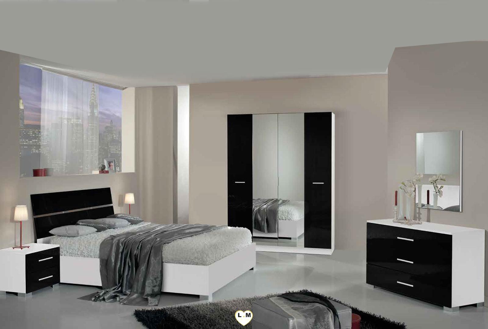 Manaus Laque Blanc Et Noir Ensemble Chambre A Coucher Moderne
