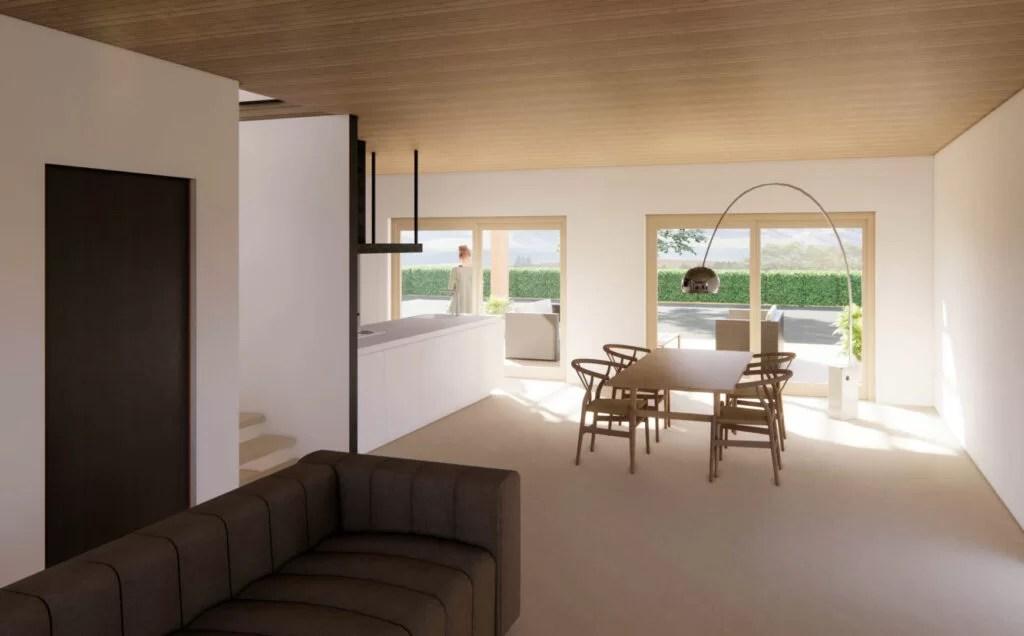 Al momento cucina, soggiorno, un bagno per piano, 3/4 camere da letto, due garage, un balcone, portico con forno a legna e Una Piacevole Casa In Legno A Due Piani Di 150 Mq Con Tre Camere Ligno