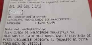multa bicicletta corso Italia