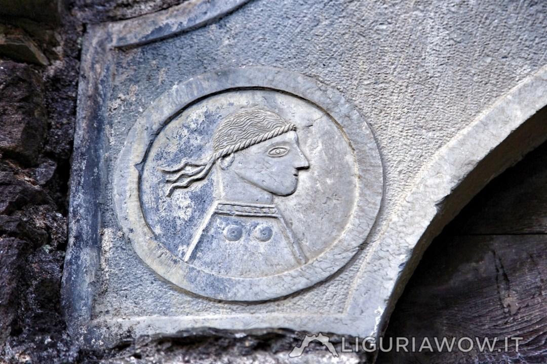 Portale della scuola di Cenova sulla chiesa di Santa Margherita del Borghetto