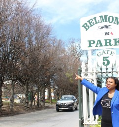 elmont community activist tammie williams in front of belmont park in april  [ 2500 x 1667 Pixel ]