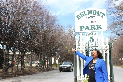 small resolution of elmont community activist tammie williams in front of belmont park in april