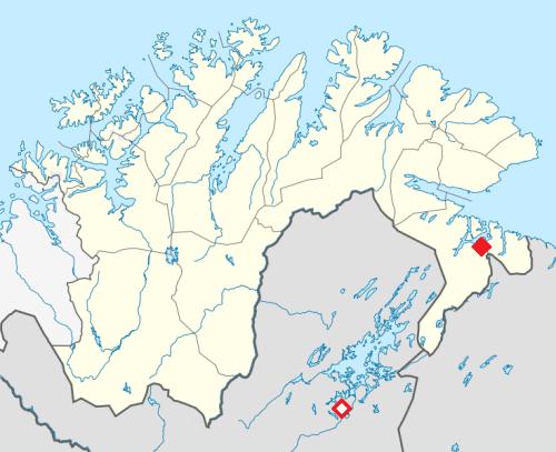 Suomen Pohjois-Lappi ja Finnmarkin alue  Norjassa. Kirkenes yläoikealla, Ivalo alhalla (punasiella).