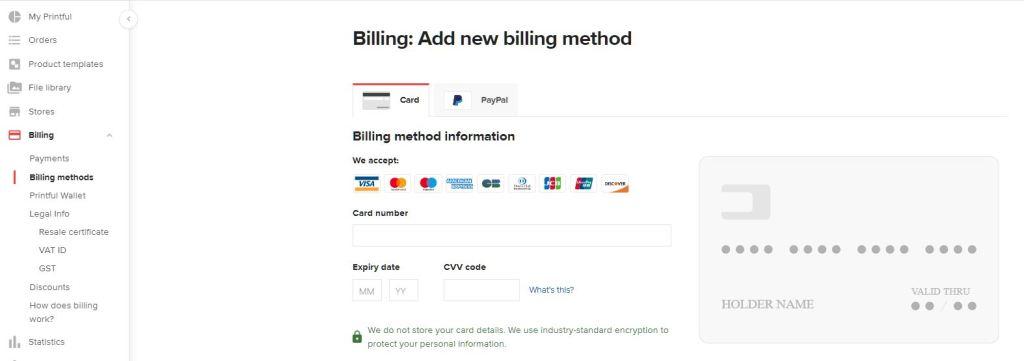 Printful Billing 付款方式