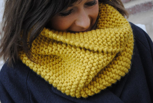 tricoter un snood simple