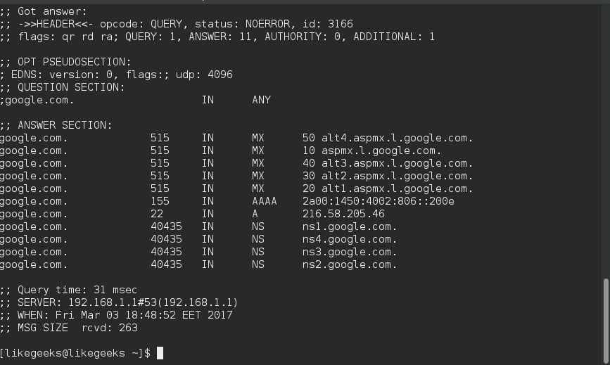 dig ANY linux network commands