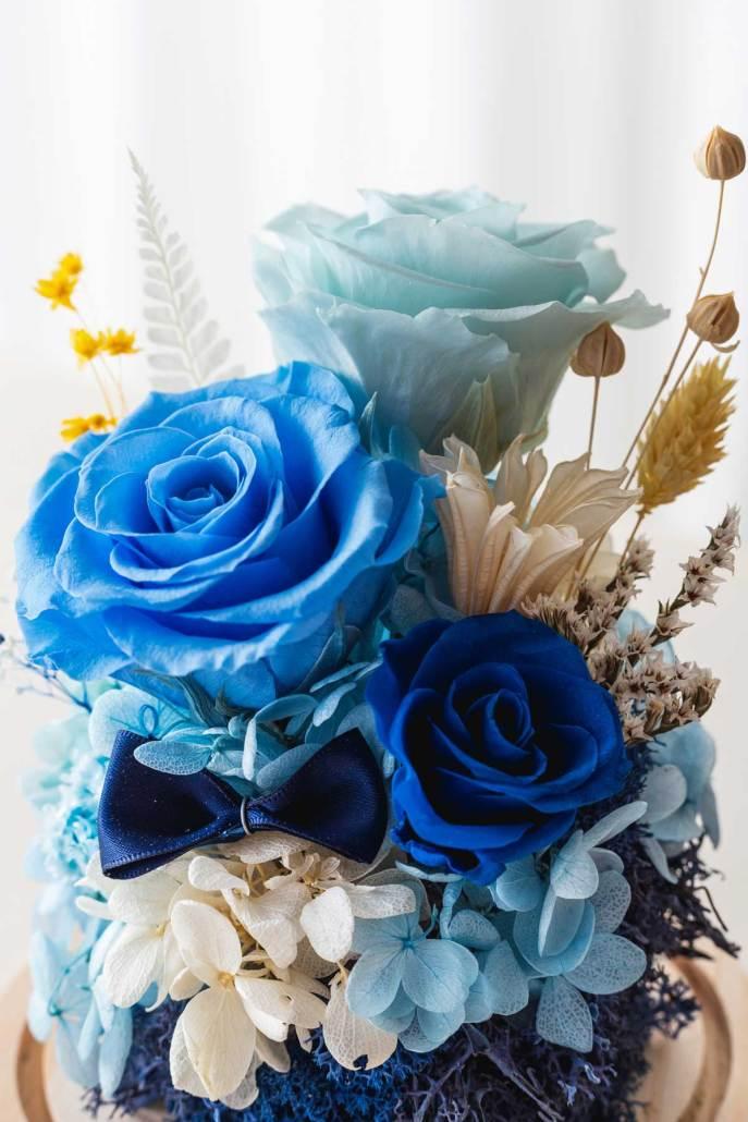 永生花玻璃盅罩-永生花淺藍大型(近2)
