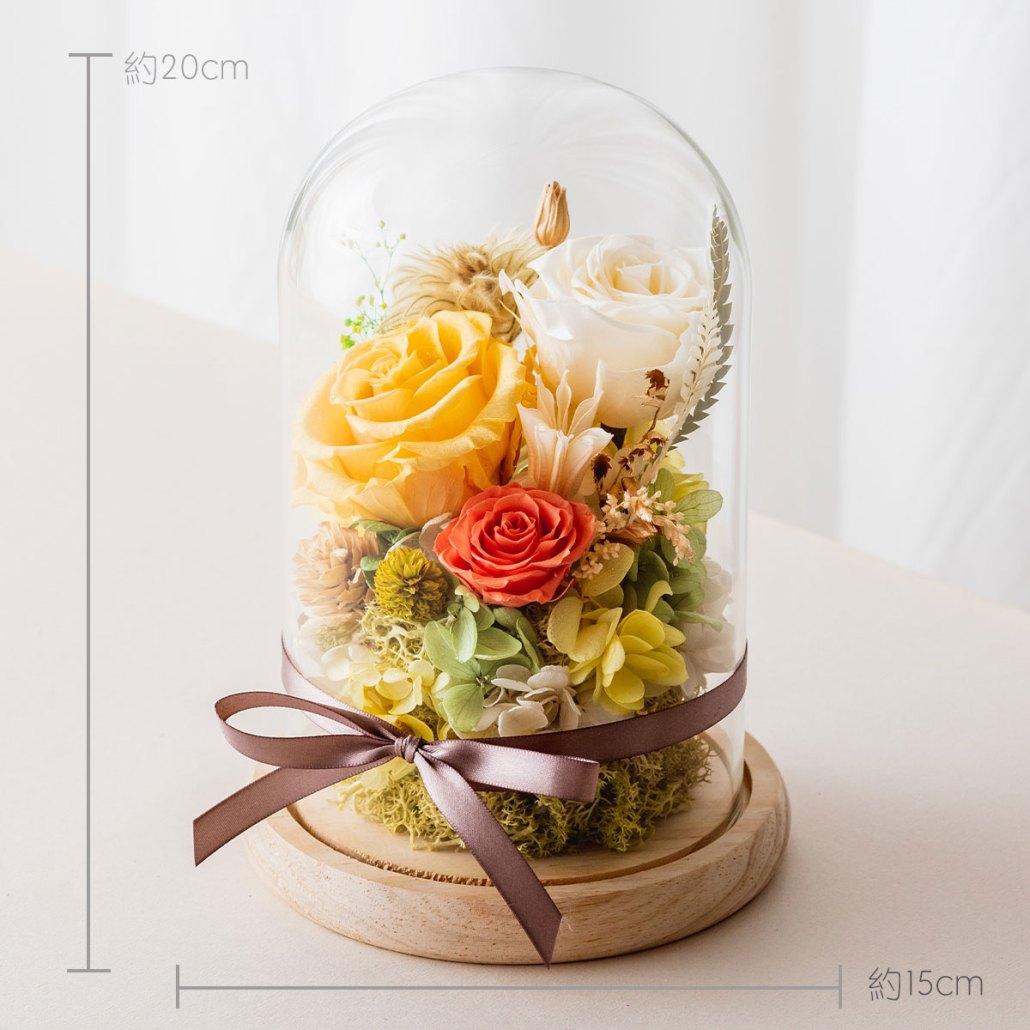 永生花玻璃盅罩-黃色永生花大型公分