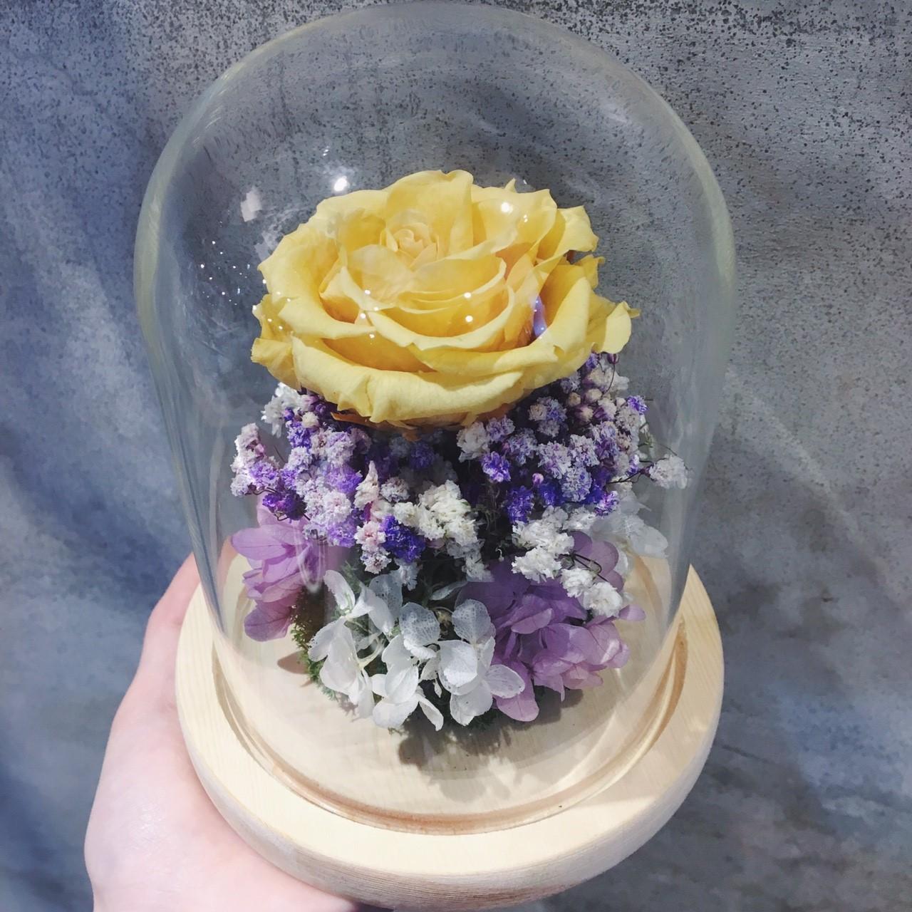 黃色永生花玫瑰,永生花玻璃罩,喜歡生活乾燥花店