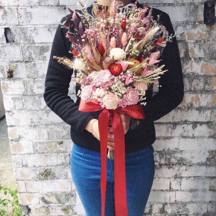 韓式長型手綁乾燥捧花-隨興自然粉