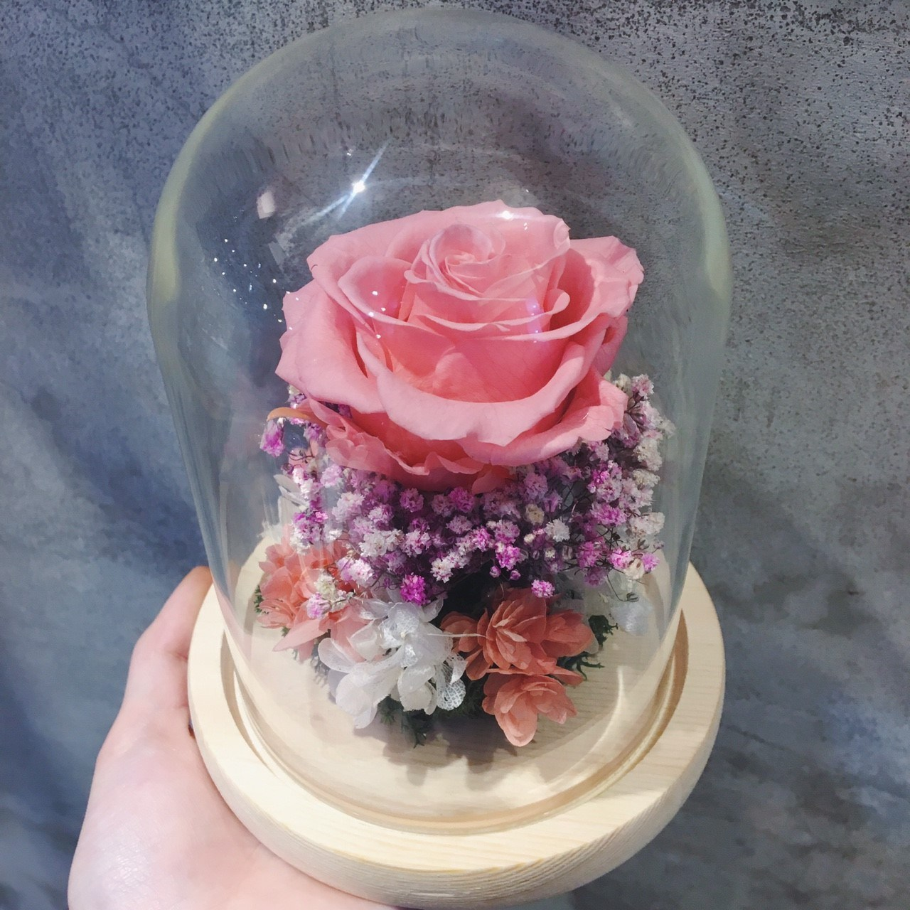 永生花玻璃盅罩粉紅色