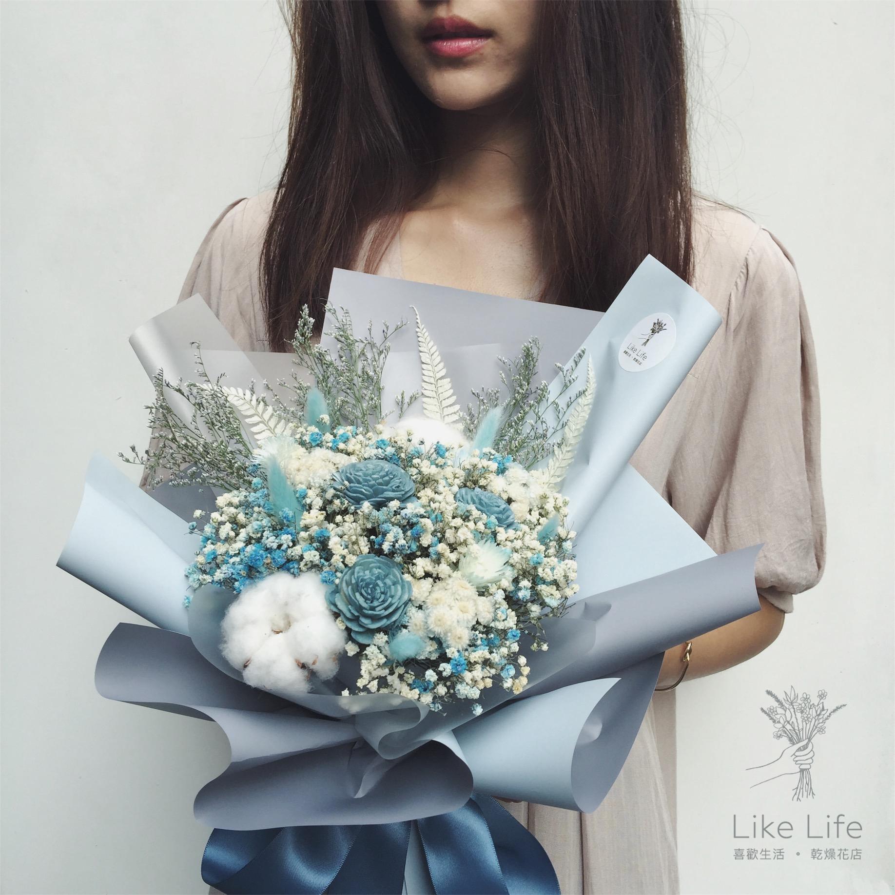 中型乾燥花束藍色,台北乾燥花店