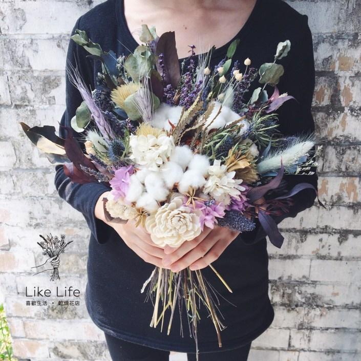 韓式扇型手綁乾燥捧花-自然紫