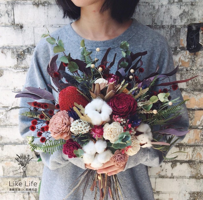 韓式扇型手綁乾燥捧花-棉花紅