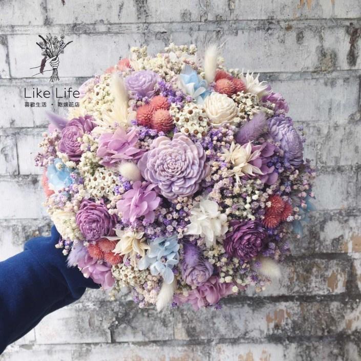 歐式圓型乾燥捧花-不凋銀河紫