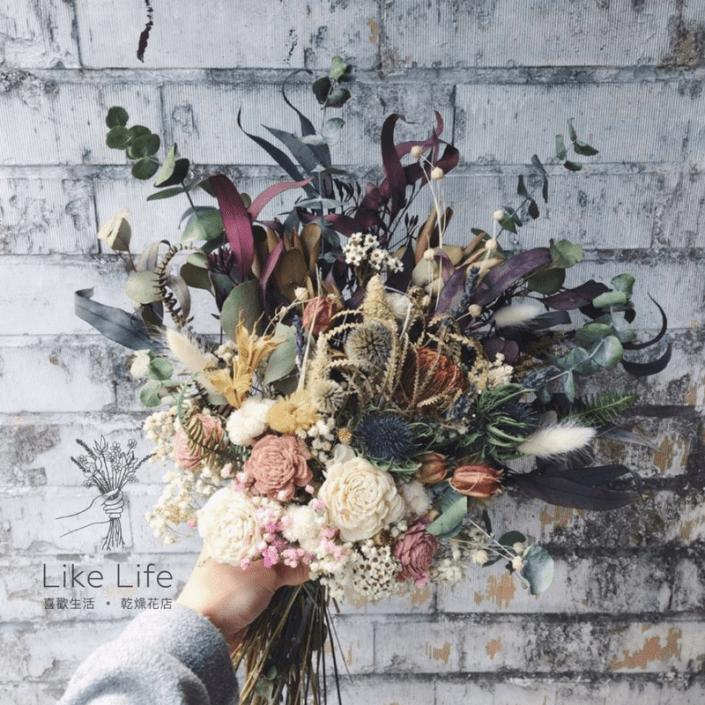 韓式長型手綁乾燥捧花-漸層森林系