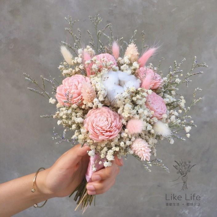 乾燥新娘捧花-粉色新娘捧花