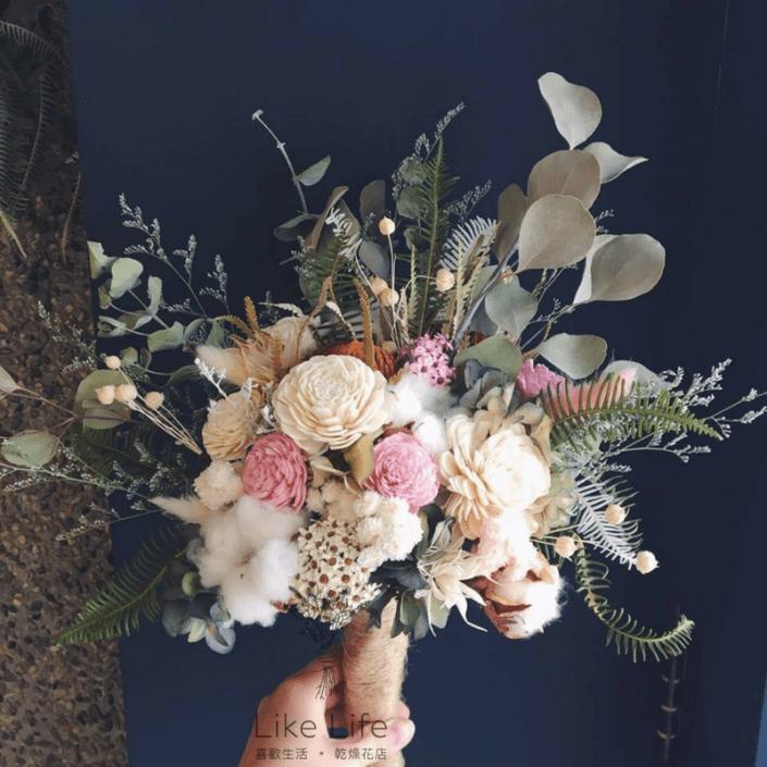 韓式扇型手綁乾燥捧花-自然白