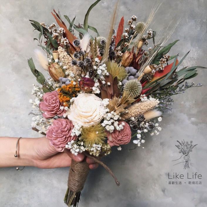 韓式長型手綁乾燥捧花-不凋叢林粉