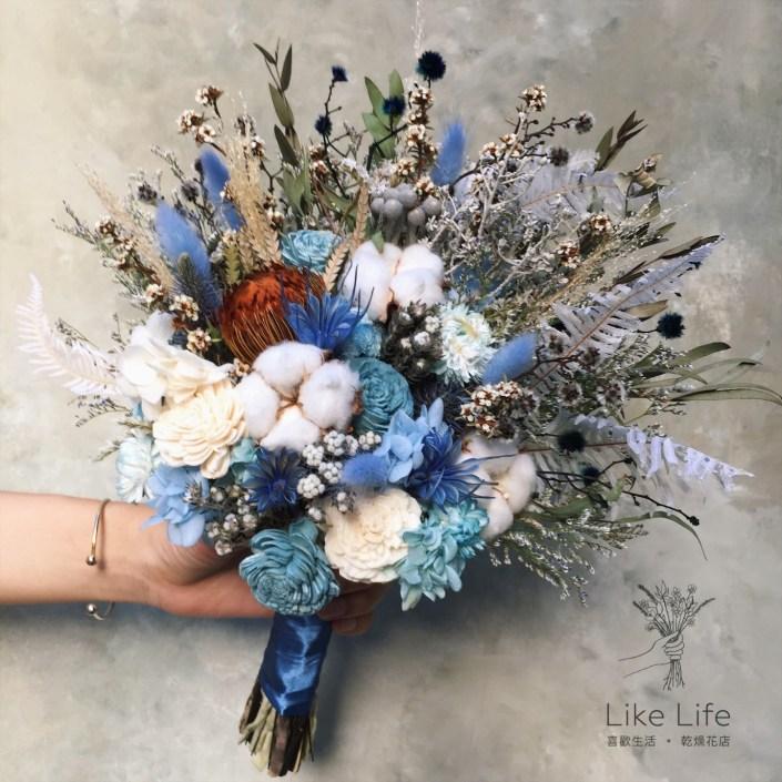韓式長型手綁乾燥捧花-不凋叢林藍
