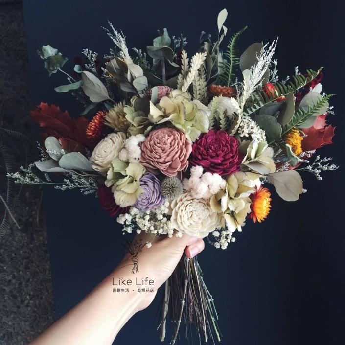 韓式扇型手綁乾燥捧花-自然叢林紅