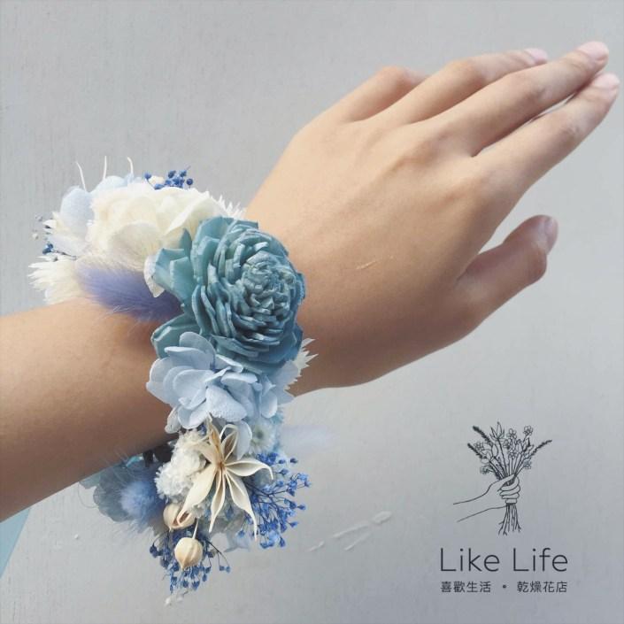 永生花手腕花-藍白色