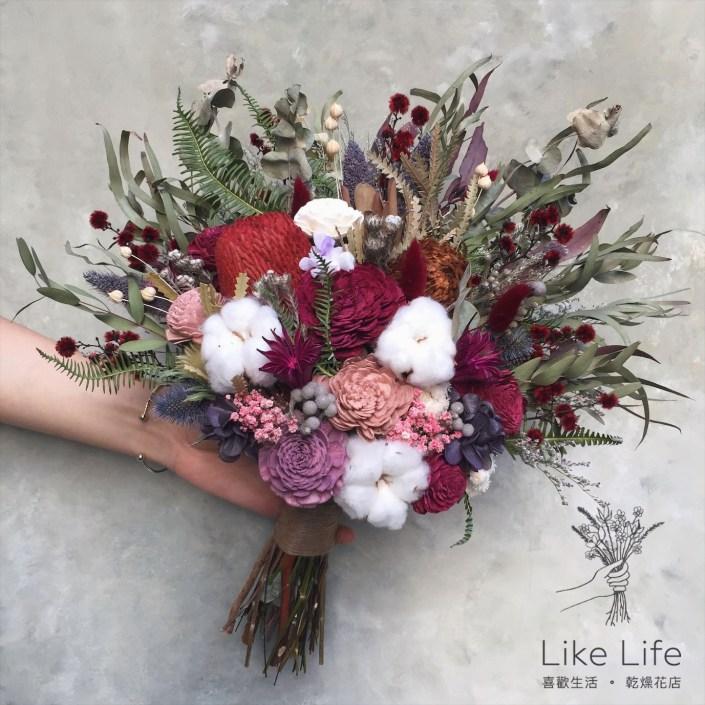 韓式長型手綁乾燥捧花-扇形自然紅