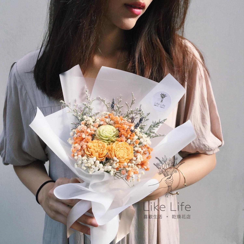 韓式花束白色手拿